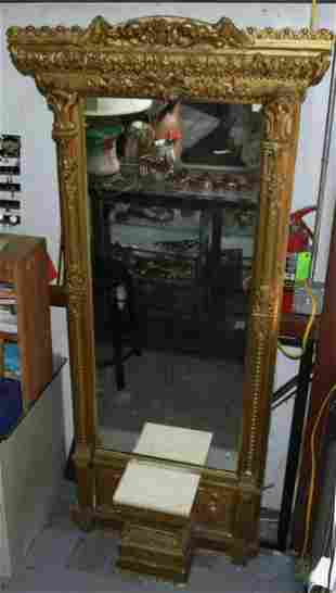 Antique French Rococo Gilt Wood Pier Mirror w/Marble