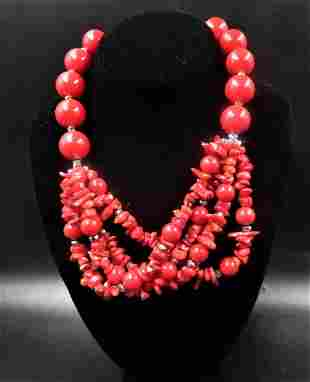 Vintage Multi Layered Red Chunky Red Coral Necklace