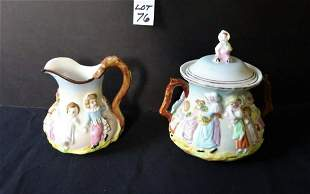 Porcelain Painted Creamer & Sugar Container
