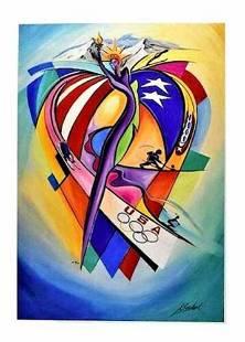 "by Alfred Gockel""USOC Olympic Celebration"" w/signed"