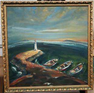 Original Signed Acrylic on Canvas 3 Boats and a lightho