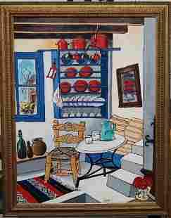 Ilkin Deniz Original Acrylic on Canvas Table and Chair