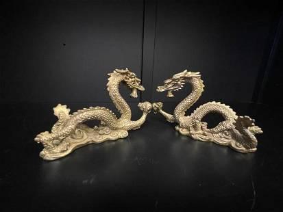 2pcs. Of Bronze Miniature Dragon