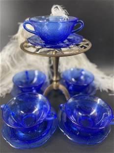 Royal Lace Cobalt Blue Handled Cream Soup/Dessert Bowl