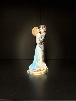 Romantic Couple Porcelain Figurine w/ Mark