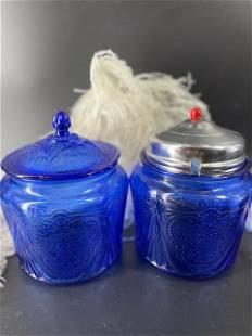 Cobalt Blue Roayl Lace Cookie Jars (2)