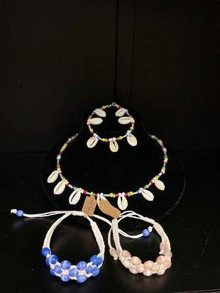 4pcs, Necklace, Anklet and Bracelets