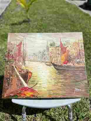"""by Penn Oil on Canvas """"Venice Canal Scene"""