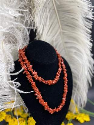 Vtg. Native American Red Coral Necklace