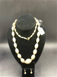 Set of Earring & Necklace Cream Vintage Knotted