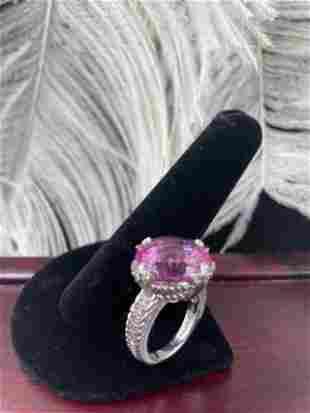 Judith Ripka 925 Sterling Silver Pink Sapphire