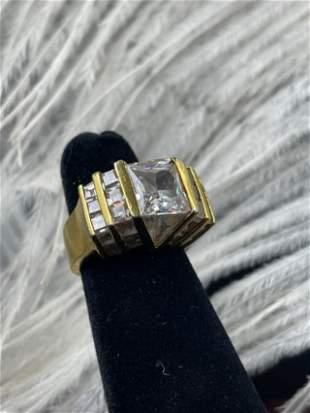 Costume Gold Ring w/ Diamond CZ