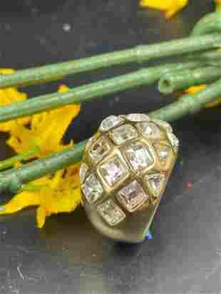 18KGE Gold Electroplate & Clea Rhinestone Ring