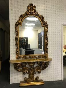 Large Antique Gold Mirror w/Credenza