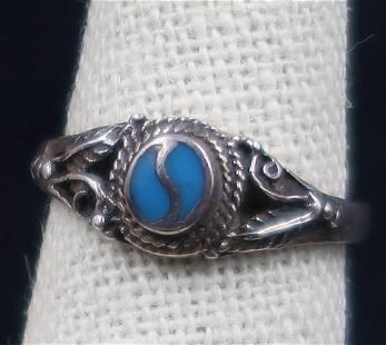 Navajo Sterling Turquoise Yin Yang Vintage Ring Size
