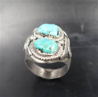 NAVAJO MAN'S TURQUOISE IN STERLING RING SIZE 11.5