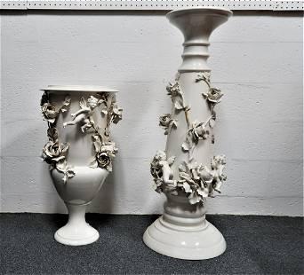 Rare Capodimonte Porcelain Pedestal with Matching Vase