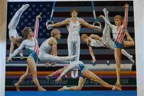 Olympics By Rick Rush Signed & No. 1984 USA Gymnastics