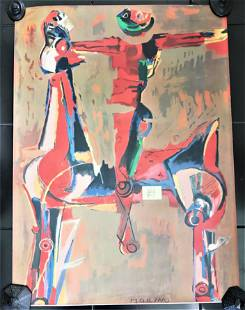 Vtg Olympic Color Lithograph by Marino Marini Signed