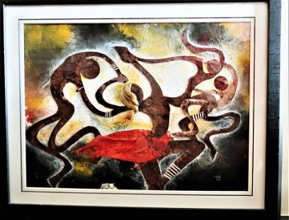 Signed Hussein Saidi Contemporary African Artist Mixed