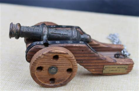 Antique A Wood and Metal Ship Cannon French