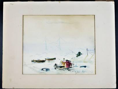 by RAOUL DUFY Beach Shore Painting ORIGINAL INK AND