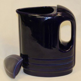 "6: Art Deco style cobalt blue pitcher.  Markings:  ""Mad"
