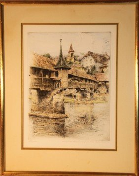8: Paul Geissler (1881-1965).  Signed, framed colored e