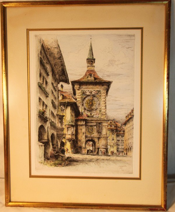 9: Paul Geissler (1881-1965).  Signed, framed colored e