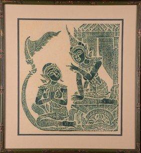 19: Handmade Thai temple rubbings set of 2.  Framed und