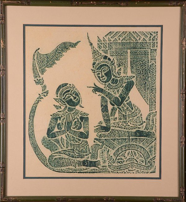 19: Handmade Thai temple rubbings set of 2.  Framed und