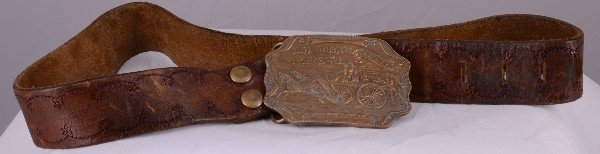 21: Tiffany & Company, brass belt buckle and leather be