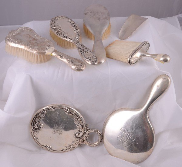24: 7 piece vintage sterling silver dresser set.  Heigh