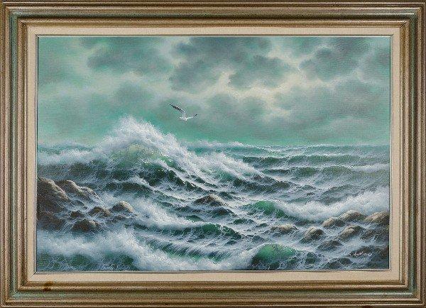 "49: Jack Jayston.  Framed oil on canvas.  ""Waves on a r"