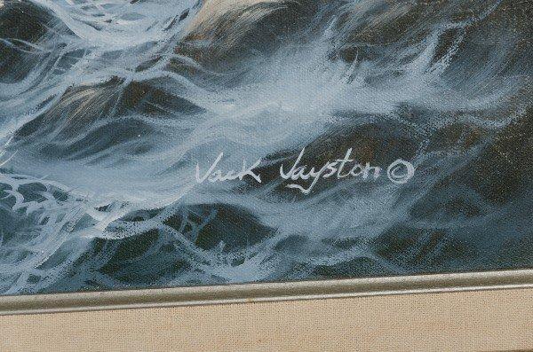 "49: Jack Jayston.  Framed oil on canvas.  ""Waves on a r - 2"