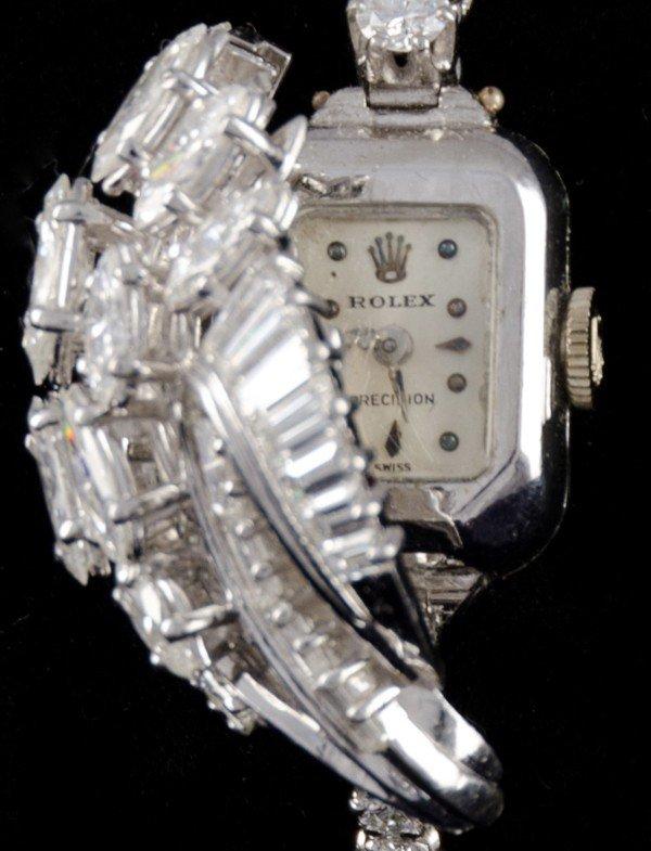 127: Antique Rolex Platinum and Diamond ladies watch. - 2