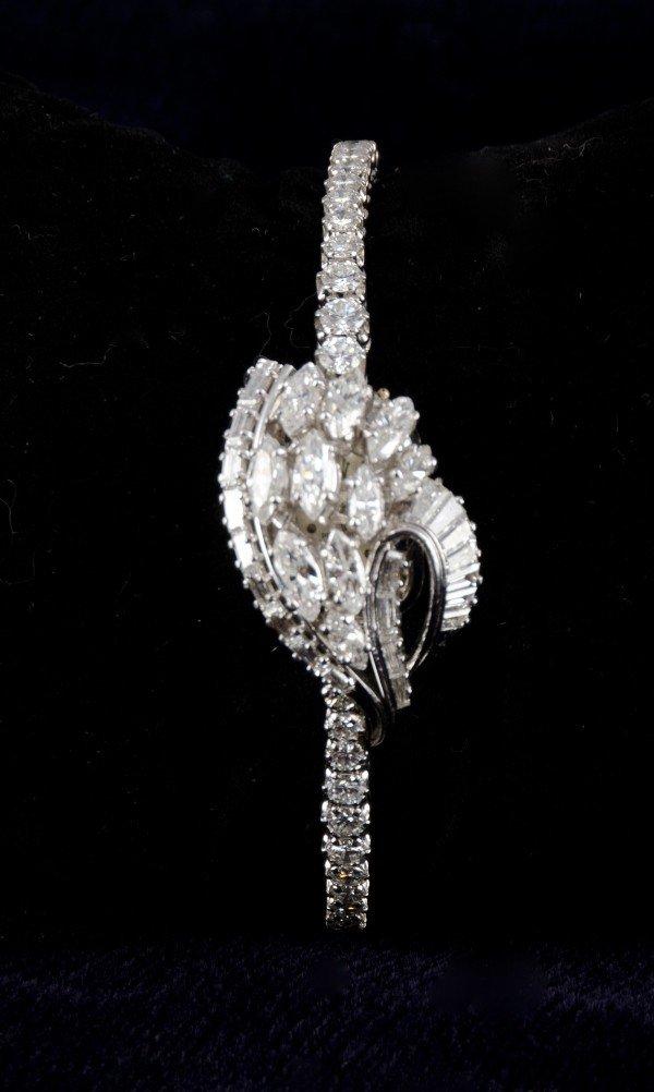 127: Antique Rolex Platinum and Diamond ladies watch. - 3
