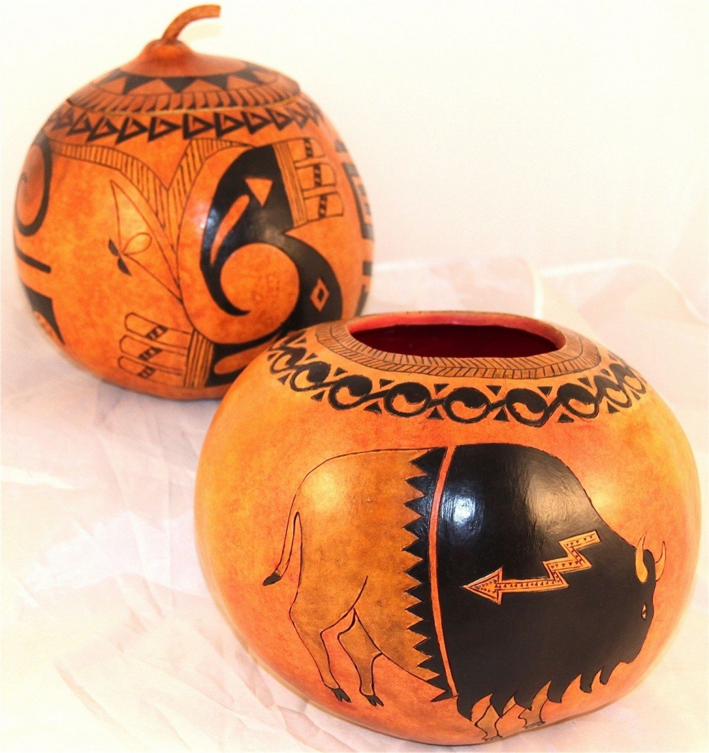 7: (2 )Native American hand carved and painted gourd