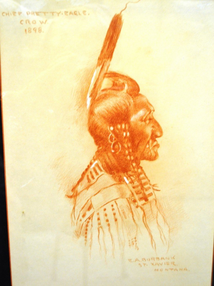 87: Indian drawing from 1898 of Chief Pretty Eagle Crow