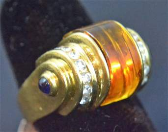 Gold 18K by Levian 18k 8ct citrine diamonds & Safires