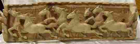 Wall sculpture releif of carved horses