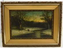 Winter oil painting signed by J.C. Capo
