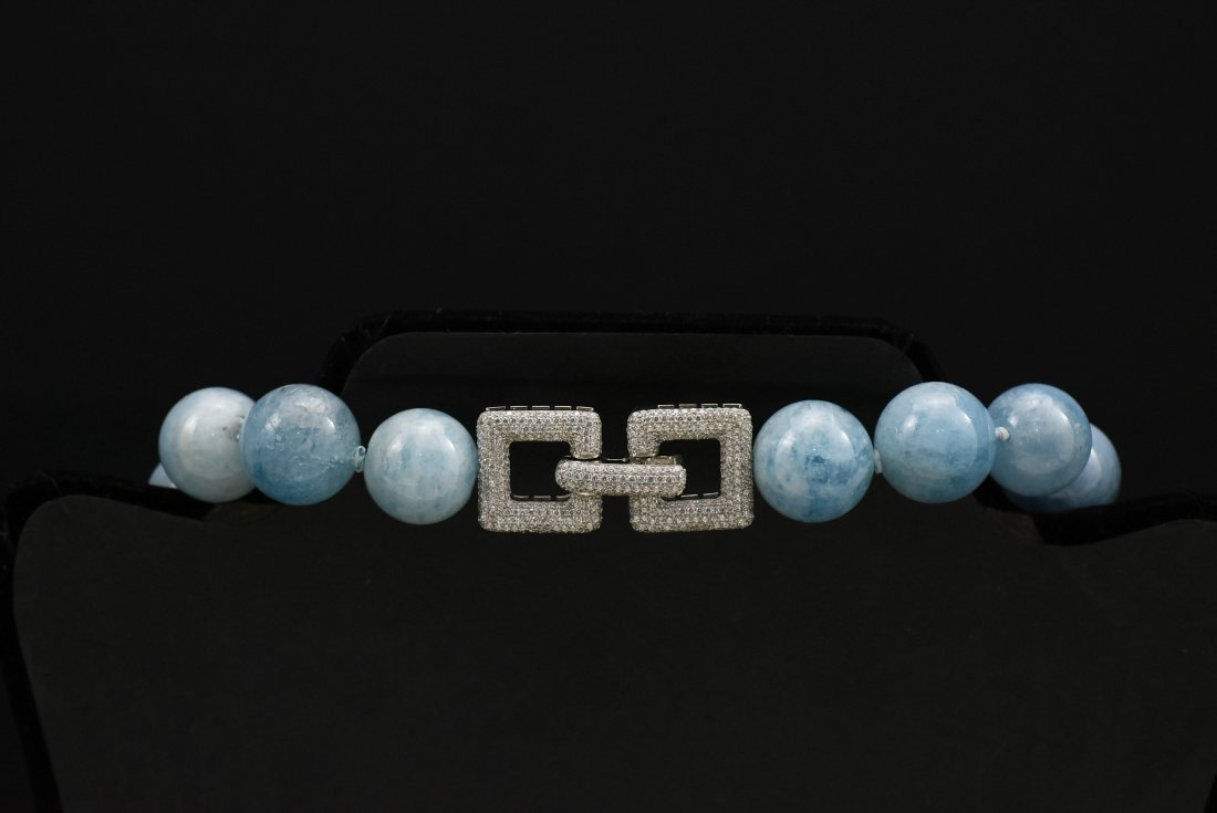 Aquamarine large round gemstones silver and cz clasp by - 2