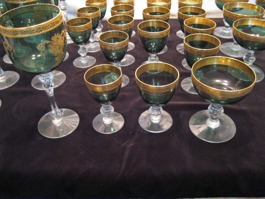101: 32 Piece-Set of Antique Vintage Glass Dark Green C