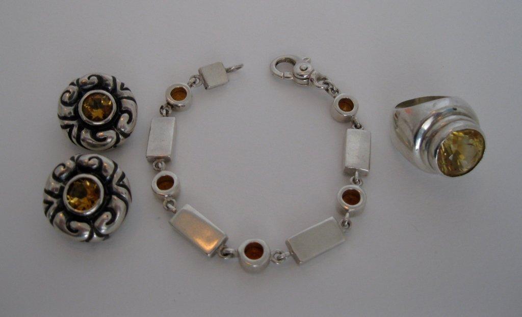 """111: Vintage"""" Zina"""" Sterling Earrings, Bracelet  & Ring"""