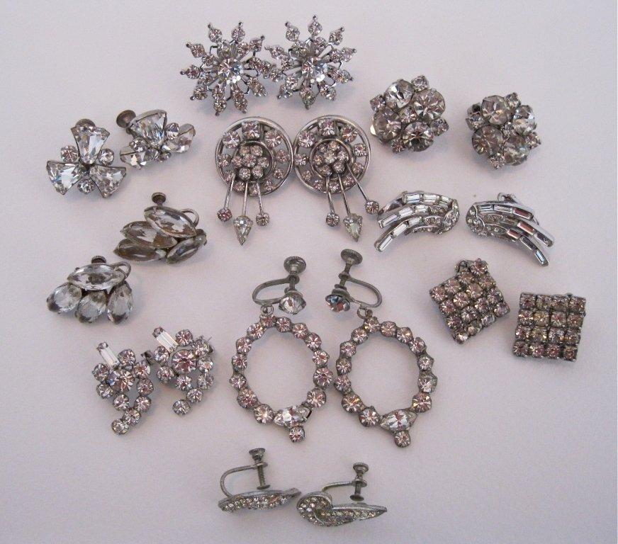 112: Vintage RHINESTONE Earrings Lot of 10