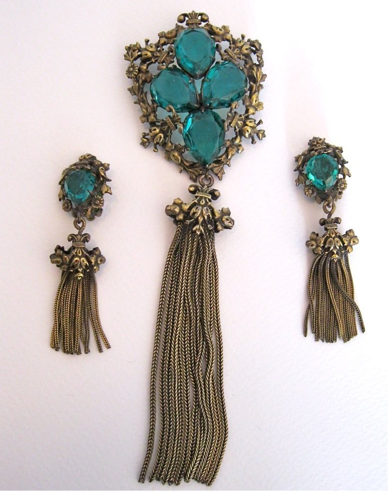 119: Joseff of Hollywood Brooch and Earring Set. Signed