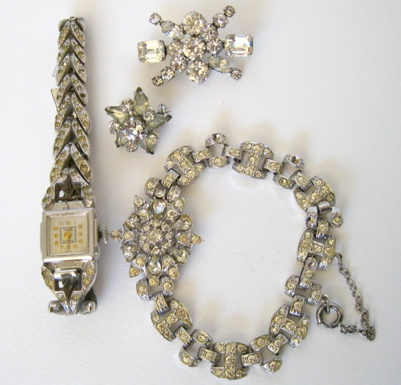 123: Lot of 4 - Assorted Rhinestone Pins, Watch and Bra