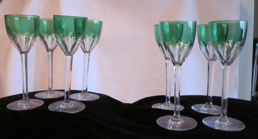 129: 8 Baccarat Rare Green Tulip Crystal Wine Glasses