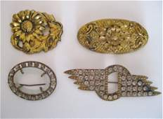 139: Antique Victorian Gold Pins with Rhinestones Lot o